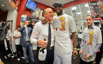 MIAMI, FL - JUNE 20: LeBron James #6 of the Miami Heat celebrates with team President Pat Riley in the locker room following the Heat's victory against the San Antonio Spurs in Game Seven of the 2013 NBA Finals on June 20, 2013 at American Airlines Arena in Miami, Florida. NOTE TO USER: User expressly acknowledges and agrees that, by downloading and or using this photograph, User is consenting to the terms and conditions of the Getty Images License Agreement. Mandatory Copyright Notice: Copyright 2013 NBAE (Photo by Jesse D. Garrabrant/NBAE via Getty Images)