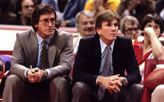 ATLANTA - JANUARY 1980:  Head coach Paul Westhead of the Los Angeles Lakers and assistant coach Pat Riley watch from the sideline during the 1980 NBA season in Atlanta, Georgia.  NOTE TO USER: User expressly acknowledges and agrees that, by downloading and or using this  photograph, User is consenting to the terms and conditions of the Getty Images License Agreement. Mandatory copyright notice: Copyright NBAE 1980 (Photo by Scott Cunningham/NBAE via Getty Images)