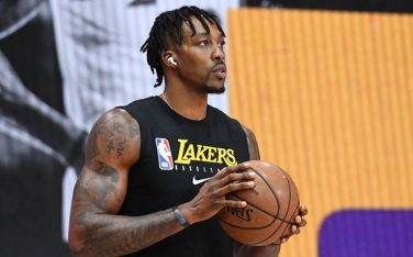 ORLANDO, FL - SEPTEMBER 26: Dwight Howard #39 of the Los Angeles Lakers warms up prior to a game against the Denver Nuggets during Game Five of the Western Conference Finals on September 26, 2020 in Orlando, Florida at AdventHealth Arena. NOTE TO USER: User expressly acknowledges and agrees that, by downloading and/or using this Photograph, user is consenting to the terms and conditions of the Getty Images License Agreement. Mandatory Copyright Notice: Copyright 2020 NBAE (Photo by Andrew D. Bernstein/NBAE via Getty Images)