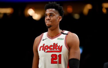 PORTLAND, OREGON - MARCH 04: Hassan Whiteside #21 of the Portland Trail Blazers looks on during the second half of the game against the Washington Wizards at the Moda Center on March 04, 2020 in Portland, Oregon. The Portland Trail Blazers topped the Washington Wizards, 125-105. (Photo by Alika Jenner/Getty Images)