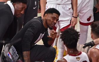 ORLANDO, FL - OCTOBER 02: Udonis Haslem #40 of the Miami Heat speaks to his team during a huddle against the Los Angeles Lakers during Game Two of the NBA Finals on October 2, 2020 in Orlando, Florida at AdventHealth Arena. NOTE TO USER: User expressly acknowledges and agrees that, by downloading and/or using this Photograph, user is consenting to the terms and conditions of the Getty Images License Agreement. Mandatory Copyright Notice: Copyright 2020 NBAE (Photo by David Dow/NBAE via Getty Images)