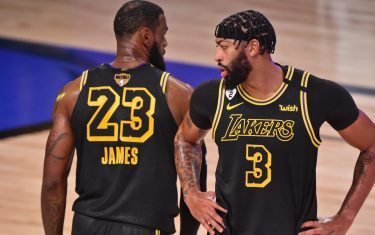 ORLANDO, FL - OCTOBER 02: LeBron James #23 and Anthony Davis #3 of the Los Angeles Lakers walk on the court against the Miami Heat during Game Two of the NBA Finals on October 2, 2020 in Orlando, Florida at AdventHealth Arena. NOTE TO USER: User expressly acknowledges and agrees that, by downloading and/or using this Photograph, user is consenting to the terms and conditions of the Getty Images License Agreement. Mandatory Copyright Notice: Copyright 2020 NBAE (Photo by David Dow/NBAE via Getty Images)