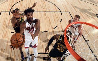 ORLANDO, FL - OCTOBER 2: Jimmy Butler #22 of the Miami Heat drives to the basket during the game against the Los Angeles Lakers during Game Two of the NBA Finals on October 2, 2020 at The AdventHealth Arena at ESPN Wide World Of Sports Complex in Orlando, Florida. NOTE TO USER: User expressly acknowledges and agrees that, by downloading and/or using this Photograph, user is consenting to the terms and conditions of the Getty Images License Agreement. Mandatory Copyright Notice: Copyright 2020 NBAE (Photo by Andrew D. Bernstein/NBAE via Getty Images)