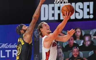 ORLANDO, FL - OCTOBER 02: Kelly Olynyk #9 of the Miami Heat drives to the basket against the Los Angeles Lakers during Game Two of the NBA Finals on October 2, 2020 in Orlando, Florida at AdventHealth Arena. NOTE TO USER: User expressly acknowledges and agrees that, by downloading and/or using this Photograph, user is consenting to the terms and conditions of the Getty Images License Agreement. Mandatory Copyright Notice: Copyright 2020 NBAE (Photo by Jesse D. Garrabrant/NBAE via Getty Images)