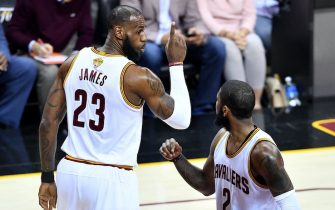 in Game 4 of the 2017 NBA Finals at Quicken Loans Arena on June 9, 2017 in Cleveland, Ohio. NOTE TO USER: User expressly acknowledges and agrees that, by downloading and or using this photograph, User is consenting to the terms and conditions of the Getty Images License Agreement.