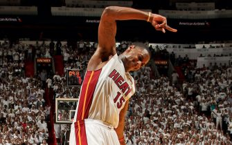 MIAMI, FL - JUNE 9: Mario Chalmers #15 of the Miami Heat celebrates after drawing a foul while making a layup, leading to a three-point play, against the San Antonio Spurs during Game Two of the 2013 NBA Finals on June 9, 2013 at American Airlines Arena in Miami, Florida. NOTE TO USER: User expressly acknowledges and agrees that, by downloading and or using this photograph, User is consenting to the terms and conditions of the Getty Images License Agreement. Mandatory Copyright Notice: Copyright 2013 NBAE (Photo by Issac Baldizon/NBAE via Getty Images)