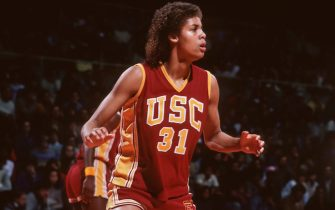 PALO ALTO, CA - FEBRUARY 1983:  Cheryl Miller #31 of the USC Trojans plays defense during an NCAA women's basketball game against Stanford University played during February 1983 in Maples Pavilion at Stanford University in Palo Alto, California. (Photo by David Madison/Getty Images) *** Local Caption *** Cheryl Miller