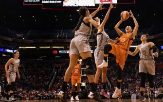 during the WNBA game at Talking Stick Resort Arena on July 30, 2017 in Phoenix, Arizona.  The Mercury defeated the Silver Stars 81-64. NOTE TO USER: User expressly acknowledges and agrees that, by downloading and or using this photograph, User is consenting to the terms and conditions of the Getty Images License Agreement.
