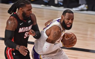 ORLANDO, FL - OCTOBER 04: LeBron James #23 of the Los Angeles Lakers drives to the basket against the Miami Heat during Game Three of the NBA Finals on October 4, 2020 in Orlando, Florida at AdventHealth Arena. NOTE TO USER: User expressly acknowledges and agrees that, by downloading and/or using this Photograph, user is consenting to the terms and conditions of the Getty Images License Agreement. Mandatory Copyright Notice: Copyright 2020 NBAE (Photo by David Dow/NBAE via Getty Images)