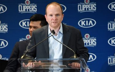 LOS ANGELES, CA - JULY 24: President of Basketball Operations, Lawrence Frank, of the LA Clippers speaks during a press conference at Green Meadows Recreation Center on July 24, 2019 in Los Angeles, California. NOTE TO USER: User expressly acknowledges and agrees that, by downloading and/or using this Photograph, user is consenting to the terms and conditions of the Getty Images License Agreement. Mandatory Copyright Notice: Copyright 2019 NBAE (Photo by Adam Pantozzi/NBAE via Getty Images)
