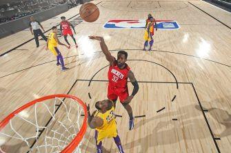 Orlando, FL - SEPTEMBER 10: Jeff Green #32 of the Houston Rockets shoots the ball during the game against the Los Angeles Lakers during Game Four of the Western Conference Semifinals on September 10, 2020 in Orlando, Florida at AdventHealth Arena. NOTE TO USER: User expressly acknowledges and agrees that, by downloading and/or using this Photograph, user is consenting to the terms and conditions of the Getty Images License Agreement. Mandatory Copyright Notice: Copyright 2020 NBAE (Photo by Nathaniel S. Butler/NBAE via Getty Images)