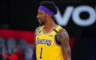 ORLANDO, FL - SEPTEMBER 10: Kentavious Caldwell-Pope #1 of the Los Angeles Lakers smiles during a game against the Houston Rockets during Game Four of the Western Conference Semifinals on September 10, 2020 at the AdventHealth Arena at ESPN Wide World Of Sports Complex in Orlando, Florida. NOTE TO USER: User expressly acknowledges and agrees that, by downloading and/or using this Photograph, user is consenting to the terms and conditions of the Getty Images License Agreement. Mandatory Copyright Notice: Copyright 2020 NBAE (Photo by Jesse D. Garrabrant/NBAE via Getty Images)