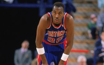 1989:  John Salley #22 of the Detroit Pistons waits for play during a game in the 1988-1989 NBA season.  (Photo by Otto Greule/Getty Images)