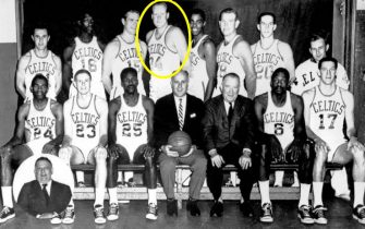 BOSTON - 1964: The World Champions of basketball Boston Celtics  pose for a team portrait seated (L-R): Sam Jones, Fran Ramsey, K. C. Jones  Head Coach Red Auerbach, President Walter A. Brown, Bill Russell, John Havlicek. Standing: Jack McCarthy,Tom Sanders, Tom Heinsohn, Clyde Lovellette, Willie Naulls, Jim Loscutoff, Larry Siegfried,Trainer Buddy LeRoux, inset Vice President Lou Pieri in Boston, Massachusetts in 1964. NOTE TO USER: User expressly acknowledges  and agrees that, by downloading and or using this  photograph, User is consenting to the terms and conditions of the Getty Images License Agreement. Mandatory copyright notice: Copyright NBAE 2002 (Photo by NBAP/ NBAE/ Getty Images)