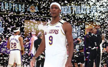 ORLANDO, FL - OCTOBER 11: Rajon Rondo #9 of the Los Angeles Lakers looks on after winning Game Six of the NBA Finals on October 11, 2020 at AdventHealth Arena in Orlando, Florida. NOTE TO USER: User expressly acknowledges and agrees that, by downloading and/or using this Photograph, user is consenting to the terms and conditions of the Getty Images License Agreement. Mandatory Copyright Notice: Copyright 2020 NBAE (Photo by Nathaniel S. Butler/NBAE via Getty Images)