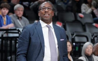 SACRAMENTO, CA - JANUARY 6: Assistant coach Mike Brown of the Golden State Warriors coaches against the Sacramento Kings on January 6, 2020 at Golden 1 Center in Sacramento, California. NOTE TO USER: User expressly acknowledges and agrees that, by downloading and or using this photograph, User is consenting to the terms and conditions of the Getty Images Agreement. Mandatory Copyright Notice: Copyright 2020 NBAE (Photo by Rocky Widner/NBAE via Getty Images)