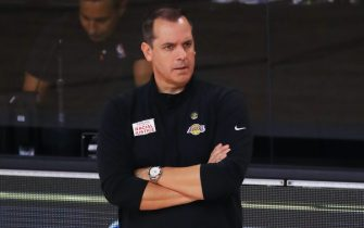 LAKE BUENA VISTA, FLORIDA - OCTOBER 09: Frank Vogel of the Los Angeles Lakers reacts during the second quarter against the Miami Heat in Game Five of the 2020 NBA Finals at AdventHealth Arena at the ESPN Wide World Of Sports Complex on October 9, 2020 in Lake Buena Vista, Florida. NOTE TO USER: User expressly acknowledges and agrees that, by downloading and or using this photograph, User is consenting to the terms and conditions of the Getty Images License Agreement. (Photo by Mike Ehrmann/Getty Images)