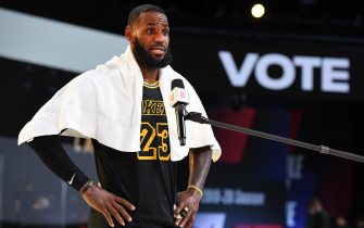 Orlando, FL - SEPTEMBER 6: LeBron James #23 of the Los Angeles Lakers gets interviewed after the game against the Houston Rockets during Game Two of the Western Conference Semifinals on September 6, 2020 in Orlando, Florida at AdventHealth Arena. NOTE TO USER: User expressly acknowledges and agrees that, by downloading and/or using this Photograph, user is consenting to the terms and conditions of the Getty Images License Agreement. Mandatory Copyright Notice: Copyright 2020 NBAE (Photo by Andrew D. Bernstein/NBAE via Getty Images)