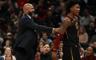WASHINGTON, DC - FEBRUARY 21: Head coach J.B. Bickerstaff of the Cleveland Cavaliers walks Kevin Porter Jr. #4 of the Cleveland Cavaliers off of the court after Porter Jr. was disqualified from the contest after two technical fouls against the Washington Wizards during the second half at Capital One Arena on February 21, 2020 in Washington, DC. (Photo by Patrick Smith/Getty Images)