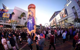 LOS ANGELES, CA - DECEMBER 18:  Los Angeles Lakers fans attend Kobeland prior to the game between the Golden State Warriors and the Los Angeles Lakers where Kobe Bryant's jerseys will be retired on December 18, 2017 at STAPLES Center in Los Angeles, California. NOTE TO USER: User expressly acknowledges and agrees that, by downloading and/or using this Photograph, user is consenting to the terms and conditions of the Getty Images License Agreement. Mandatory Copyright Notice: Copyright 2017 NBAE (Photo by Adam Pantozzi/NBAE via Getty Images)