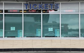 KANSAS CITY, MO - MARCH 19:  The closed ticket window of Kauffman Stadium, home of the Kansas City Royals, is seen as it sits empty as Major League Baseball has shut down competition due to coronavirus on March 19, 2020 in Kansas City, Missouri. The NBA, NHL, NCAA and MLB have all announced cancellations or postponements of events because of COVID-19. (Photo by Jamie Squire/Getty Images)