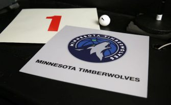SECAUCUS, NJ - AUGUST 20: The card of the Minnesota Timberwolves after they get the 1st overall pick in the NBA Draft during the 2020 NBA Draft Lottery on August 20, 2020 at the NBA Entertainment Studios in Secaucus, New Jersey. NOTE TO USER: User expressly acknowledges and agrees that, by downloading and/or using this photograph, user is consenting to the terms and conditions of the Getty Images License Agreement. Mandatory Copyright Notice: Copyright 2020 NBAE (Photo by Steven Freeman/NBAE via Getty Images)