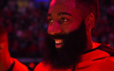 HOUSTON, TX - NOVEMBER 24 : James Harden #13 of the Houston Rockets smiles before game against the Dallas Mavericks on November 24, 2019 at the Toyota Center in Houston, Texas. NOTE TO USER: User expressly acknowledges and agrees that, by downloading and or using this photograph, User is consenting to the terms and conditions of the Getty Images License Agreement. Mandatory Copyright Notice: Copyright 2019 NBAE (Photo by Bill Baptist/NBAE via Getty Images)