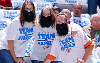 OKLAHOMA CITY, OK - JUNE 14: Oklahoma City Thunder fans wear fake beard in honor of James Harden #13 before the Miami Heat played the Thunder in Game Two of the 2012 NBA Finals at Chesapeake Energy Arena on June 14, 2012 in Oklahoma City, Oklahoma. NOTE TO USER: User expressly acknowledges and agrees that, by downloading and or using this photograph, user is consenting to the terms and conditions of the Getty Images License Agreement. Mandatory Copyright Notice: Copyright 2012 NBAE (Photo by Andrew D. Bernstein/NBAE via Getty Images)