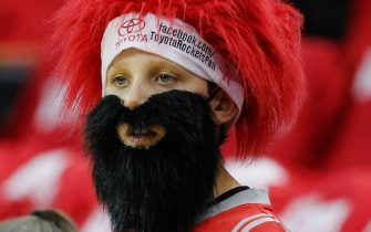 HOUSTON, TX - APRIL 20:  A young Houston Rockets fan wears his James Harden beard as he looks on before Game One of the Western Conference Quarterfinals during the 2014 NBA Playoffs at the Toyota Center on April 20, 2014 in Houston, Texas. NOTE TO USER: User expressly acknowledges and agrees that, by downloading and or using this photograph, User is consenting to the terms and conditions of the Getty Images License Agreement.  (Photo by Bob Levey/Getty Images)