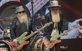 AUSTIN, TEXAS - MAY 19: Singer-songwriters Dusty Hill (L) and Billy Gibbons of ZZ Top perform in concert during 'ZZ Top's 50th Anniversary Texas Bash' at Austin360 Amphitheater on May 19, 2019 in Austin, Texas. (Photo by Rick Kern/WireImage)