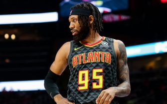 ATLANTA, GA - JANUARY 14: DeAndre' Bembry #95 of the Atlanta Hawks looks on during a game against the Phoenix Suns at State Farm Arena on January 14, 2020 in Atlanta, Georgia. NOTE TO USER: User expressly acknowledges and agrees that, by downloading and or using this photograph, User is consenting to the terms and conditions of the Getty Images License Agreement. (Photo by Carmen Mandato/Getty Images)