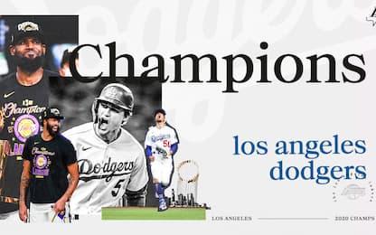 I Lakers esultano per la vittoria dei Dodgers