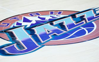 SALT LAKE CITY, UT - FEBRUARY 26: Close up of the Utah Jazz logo during a game at the Vivint Smart Home Arena on February 26, 2020 in Salt Lake City, UT. NOTE TO USER: User expressly acknowledges and agrees that, by downloading and or using this photograph, User is consenting to the terms and conditions of the Getty Images License Agreement. Mandatory Credit: 2020 NBAE (Photo by Chris Elise/NBAE via Getty Images)