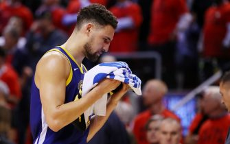 TORONTO, ONTARIO - JUNE 10:  Klay Thompson #11 of the Golden State Warriors reacts against the Toronto Raptors in the second half during Game Five of the 2019 NBA Finals at Scotiabank Arena on June 10, 2019 in Toronto, Canada. NOTE TO USER: User expressly acknowledges and agrees that, by downloading and or using this photograph, User is consenting to the terms and conditions of the Getty Images License Agreement. (Photo by Gregory Shamus/Getty Images)