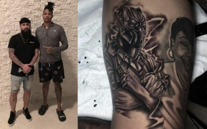 Il tatoo di Fultz in onore di Black Panther. FOTO