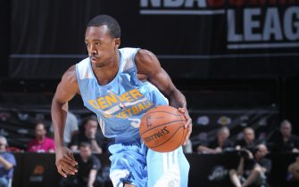 LAS VEGAS, NV - JULY 18: Errick McCollum #6 of the Denver Nuggets drives against the Los Angeles Lakers at the Samsung NBA Summer League 2014 on July 18, 2014 at the Thomas & Mack Center in Las Vegas, Nevada. NOTE TO USER: User expressly acknowledges and agrees that, by downloading and or using this photograph, User is consenting to the terms and conditions of the Getty Images License Agreement. Mandatory Copyright Notice: Copyright 2014 NBAE (Photo by Jack Arent/NBAE via Getty Images)