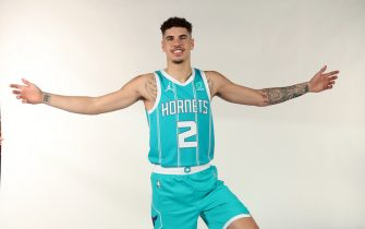 CHARLOTTE, NC- NOVEMBER 20: LaMelo Ball #2 of the Charlotte Hornets poses for a portrait at the Spectrum Center on November 20 in Charlotte, North Carolina.  NOTE TO USER: User expressly acknowledges and agrees that, by downloading and or using this photograph, User is consenting to the terms and conditions of the Getty Images License Agreement. Mandatory Copyright Notice: Copyright 2020 NBAE  (Photo by Kent Smith/NBAE via Getty Images)