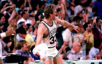 BOSTON - 1984:  Larry Bird #33 of the Boston Celtics celebrates during a game circa 1984 at the Boston Garden in Boston, Massachusetts.  NOTE TO USER: User expressly acknowledges and agrees that, by downloading and/or using this Photograph, user is consenting to the terms and conditions of the Getty Images License Agreement.  Mandatory Copyright Notice: Copyright 1984 NBAE (Photo by Dick Raphael/NBAE via Getty Images)