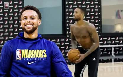Lillard segna da centrocampo: la reazione di Curry