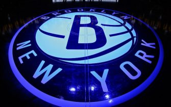 BROOKLYN, NY - OCTOBER 14:  The Brooklyn Nets logo on the court before the game against the Boston Celtics during the preseason game on October 14, 2015 at Barclays Center in Brooklyn, New York. NOTE TO USER: User expressly acknowledges and agrees that, by downloading and or using this Photograph, user is consenting to the terms and conditions of the Getty Images License Agreement. Mandatory Copyright Notice: Copyright 2015 NBAE (Photo by Nathaniel Butler/NBAE via Getty Images)
