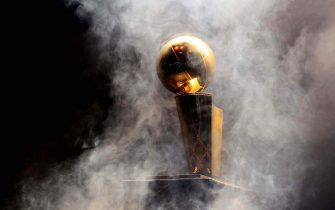 The Larry O'Brien NBA Championship trophy awaits the Heat players in AmericanAirlines Arena. (Allen Eyestone/The Palm Beach Post)