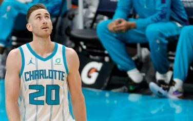 CHARLOTTE, NORTH CAROLINA - DECEMBER 12: Gordon Hayward #20 of the Charlotte Hornets looks on during the first half of their game against the Toronto Raptors at Spectrum Center on December 12, 2020 in Charlotte, North Carolina. (Photo by Jared C. Tilton/Getty Images)
