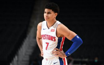 DETROIT, MI - DECEMBER 13: Killian Hayes #7 of the Detroit Pistons looks on against the New York Knicks during a preseason game on December 13, 2020 at Little Caesars Arena in Detroit, Michigan. NOTE TO USER: User expressly acknowledges and agrees that, by downloading and/or using this photograph, User is consenting to the terms and conditions of the Getty Images License Agreement. Mandatory Copyright Notice: Copyright 2020 NBAE (Photo by Chris Schwegler/NBAE via Getty Images)