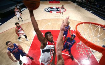 WASHINGTON, DC - DECEMBER 19: Thomas Bryant #13 of the Washington Wizards dunks the ball during a preseason game against the Detroit Pistons on December 19, 2020 at Capital One Arena in Washington, DC. NOTE TO USER: User expressly acknowledges and agrees that, by downloading and or using this Photograph, user is consenting to the terms and conditions of the Getty Images License Agreement. Mandatory Copyright Notice: Copyright 2020 NBAE (Photo by Ned Dishman/NBAE via Getty Images)