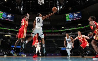 MEMPHIS, TN - DECEMBER 17: De'Anthony Melton #0 of the Memphis Grizzlies shoots the ball during a preseason game against the Atlanta Hawks on December 17, 2020 at FedExForum in Memphis, Tennessee. NOTE TO USER: User expressly acknowledges and agrees that, by downloading and or using this photograph, User is consenting to the terms and conditions of the Getty Images License Agreement. Mandatory Copyright Notice: Copyright 2020 NBAE (Photo by Joe Murphy/NBAE via Getty Images)