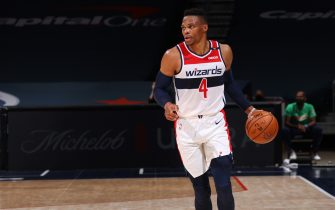 WASHINGTON, DC - DECEMBER 19:  Russell Westbrook #4 of the Washington Wizards dribbles the ball during a preseason game against the Detroit Pistons on December 19, 2020 at Capital One Arena in Washington, DC. NOTE TO USER: User expressly acknowledges and agrees that, by downloading and or using this Photograph, user is consenting to the terms and conditions of the Getty Images License Agreement. Mandatory Copyright Notice: Copyright 2020 NBAE (Photo by Ned Dishman/NBAE via Getty Images)
