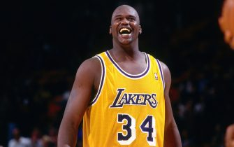 INGLEWOOD, CA - 1997: Shaquille O'Neal #34 of the Los Angeles Lakers smiles  circa 1997 at the Great Western Forum in Inglewood, California. NOTE TO USER: User expressly acknowledges and agrees that, by downloading and or using this photograph, User is consenting to the terms and conditions of the Getty Images License Agreement. Mandatory Copyright Notice: Copyright 1997 NBAE (Photo by Sam Forencich/NBAE via Getty Images)