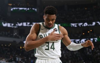 MILWAUKEE, WI - JUNE 25: Giannis Antetokounmpo #34 of the Milwaukee Bucks warms up prior to the game against the Atlanta Hawks during Game 2 of the Eastern Conference Finals of the 2021 NBA Playoffs on June 25, 2021 at the Fiserv Forum Center in Milwaukee, Wisconsin. NOTE TO USER: User expressly acknowledges and agrees that, by downloading and or using this Photograph, user is consenting to the terms and conditions of the Getty Images License Agreement. Mandatory Copyright Notice: Copyright 2021 NBAE (Photo by Gary Dineen/NBAE via Getty Images).