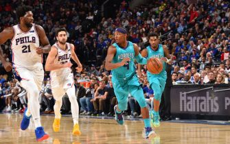 PHILADELPHIA, PA - NOVEMBER 10: Devonte' Graham #4 of the Charlotte Hornets handles the ball against the Philadelphia 76ers on November 10, 2019 at the Wells Fargo Center in Philadelphia, Pennsylvania NOTE TO USER: User expressly acknowledges and agrees that, by downloading and/or using this Photograph, user is consenting to the terms and conditions of the Getty Images License Agreement. Mandatory Copyright Notice: Copyright 2019 NBAE (Photo by David Dow/NBAE via Getty Images)