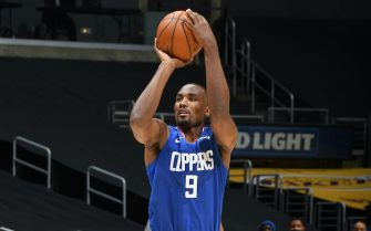 LOS ANGELES, CA - DECEMBER 22: Serge Ibaka #9 of the LA Clippers shoots the ball against the Los Angeles Lakers on December 22, 2020 at STAPLES Center in Los Angeles, California. NOTE TO USER: User expressly acknowledges and agrees that, by downloading and/or using this Photograph, user is consenting to the terms and conditions of the Getty Images License Agreement. Mandatory Copyright Notice: Copyright 2020 NBAE (Photo by Andrew D. Bernstein/NBAE via Getty Images)